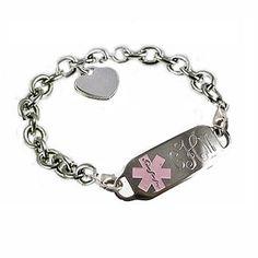 Medical ID Bracelets and jewelry custom engraved for men, women, children - Sterling Oval Link Medical ID Bracelet