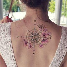 70 Compass Tattoos for Wanderlust Warriors - Straight Blasted Feminine Compass Tattoo, Compass Tattoo Design, Feminine Tattoos, Compass Rose Tattoo, Delicate Tattoo, Dragonfly Tattoo, Meaningful Tattoos For Women, Arm Tattoos For Women, Tattoo Designs For Women