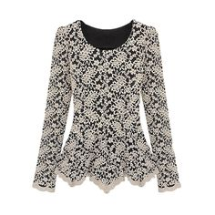 (13.49$)  Know more - http://ai6af.worlditems.win/all/product.php?id=G0647BE-XL - Elegant Women Lace Blouse Long Sleeve Peplum Slim Basic Shirt Tops Beige