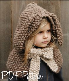 Knitting PATTERN-The Royalynn Rabbit Hood (6/9 month - 12/18 month - Toddler - Child sizes) via Etsy