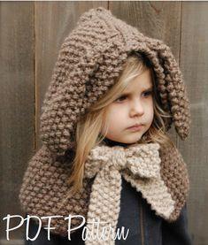 Knitting PATTERN-The Royalynn Rabbit Hood (6/9 month - 12/18 month - Toddler - Child sizes) via Etsy