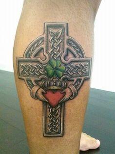 Claddaggh Celtic Cross tattoo that I did. Thanks Dom! #mikeyfishhook #claddagh…