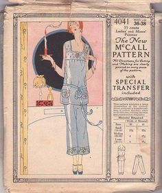 MOMSPatterns Vintage Sewing Patterns - McCall's 4041 Vintage 20's Sewing Pattern BEAUTIFUL Art Deco Great Gatsby Lounge Pajamas, Chemise Blouse Top with Pockets, Cropped Capri Pants, Tie Belt, Embroidery Transfer Size M