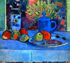 Still LIfe with Flowers and Fruit, Oil On Panel by Alexej Georgewitsch Von Jawlensky (