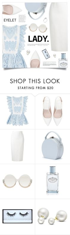 """Lady"" by marina-volaric ❤ liked on Polyvore featuring self-portrait, Zara, Roland Mouret, Handle, Alice + Olivia, Prada, Huda Beauty, Allurez and eyelet"