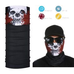 BLACK MEN'S FACE SHIELD BANDANA SPORTS ELASTIC FACE MASK TUBE SCARF