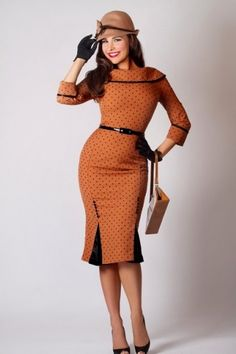 Bettie Page Clothing - 50s Iced Coffee wiggle dress camel black dots