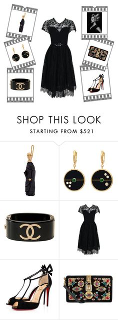 """""""Lady in Black"""" by charlottes-styles on Polyvore featuring mode, Alexander McQueen, Chanel, Pauline Trigère, Christian Louboutin, Dolce&Gabbana, MSGM, blackandgold, classics en charlottesstyles"""