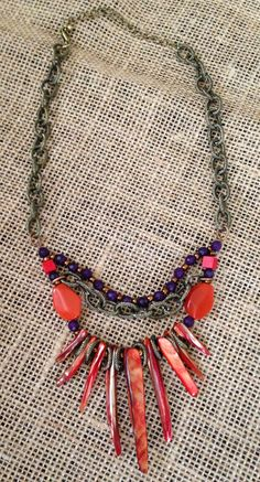 Orange Purple and Bronze Chain and Beaded by PeacocksandLeopards, $28.00