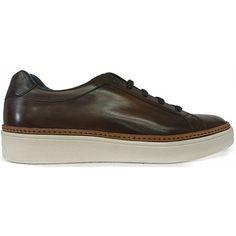 8539 Zapato deportivo tipo bamba con la piel color cuero difuminada y tintada a mano de Zampiere | Calzados Garrido