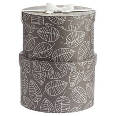 Grey White Leaves Classic Hat Box Set from The Container Store Closet Rod, Master Closet, White Leaf, Grey And White, Belt Storage, Storage Boxes, Storage Ideas, Purse Hanger, White Closet