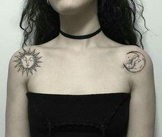 ❥ r o y a l m i s f i t Small Tattoos, Body Art Tattoos, Tatoos, Sun And Moon Tattos, Sun Moon Tattoos, Tattoo Sun, Get A Tattoo, Cloud Tattoo, Future Tattoos