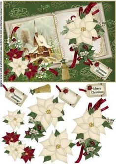 Christmas book scene cream on Craftsuprint designed by Carol Smith - a decoupage sheet for Christmas which has a vintage scene of a church, the scene is in the page of a beautiful book decorated with poinsettia swags and beaded page mark matching tag says Christmas blessings and merry Christmas also a blank tag for the greeting of your choice this version has a cream coloured book on a green backgroundthank you for looking please take a peek at my other items - Now available for download!
