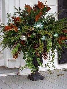 Gorgeous Christmas urns for the holidays add a festive elegance to the entryway and say welcome to your holiday guests. Christmas Urns, Winter Christmas, Christmas Holidays, Christmas Wreaths, Christmas Crafts, Fall Winter, Southern Christmas, Christmas Greenery, Christmas Vacation