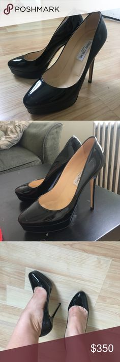 Jimmy Choo heels 👠 Black Patent leather Jimmy Choo heels.          247 COSMIC style. 💯 authentic. Worn once for a party. No scratches. Leather bottom. They come with original box and dust bag. Made in Italy 🇮🇹 Jimmy Choo Shoes Heels