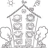 Find big family drawing stock images in HD and millions of other royalty-free stock photos, illustrations and vectors in the Shutterstock collection. Family Coloring Pages, Coloring Pages For Kids, Coloring Books, Art Drawings For Kids, Drawing For Kids, Easy Drawings, Family Drawing, Family Theme, Home And Family