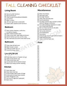Free Checklist for Fall Cleaning - Money Saving Mom®️️: Money Saving Mom®️