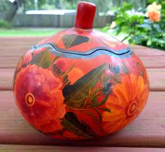 New to my #etsy shop: Vintage Carved Hand Painted Gourd Trinket Box, Gourd Trinket Box with Lid, Stash Box, Vintage Mexico Folk Art, Red with Floral Painting https://etsy.me/2unBMpB  #gourd #vintagegourd #gourdtrinketbox #gourdstashbox #gift #Mexicanfolkart #Mexico