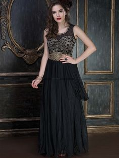 Grab This Bold And Smart Black Colored Gown To Your Wardrobe. Its Soft Net Fabric Keeps You Comfortable All Day Long And Its pattern Is Easy To Carry For Long. Grab This Black Colored Gown Now. Look Stunning And Impress Your Loved One By Wearing This Black Hot Colored Gown And See Create A Magical Aura. This Gown Can Be Stitched Up To Size 40