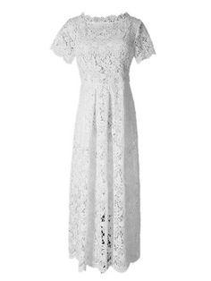 White Crochet Lace Scallop Trims Midi Skater Dress