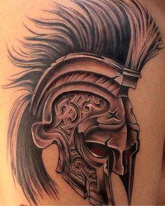 spartan helmet tattoo, I want to add Pi Kappa Alpha symbols on the side for my fraternity Warrior Tattoos, Badass Tattoos, Leg Tattoos, Body Art Tattoos, Tattoos For Guys, Sleeve Tattoos, Tattos, Gladiator Tattoo, Tumblr Roses