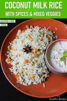 Coconut milk rice is a South Indian one pot dish made with rice, spices, mixed veggies and coconut milk. Mildly flavored but tastes delicious and is easy to make. Serve it with dal, curry or raita. Coconut Recipes, Rice Recipes, Indian Food Recipes, Asian Recipes, Vegetarian Recipes, Cooking Recipes, Healthy Recipes, Cooking Dishes, Easy Recipes
