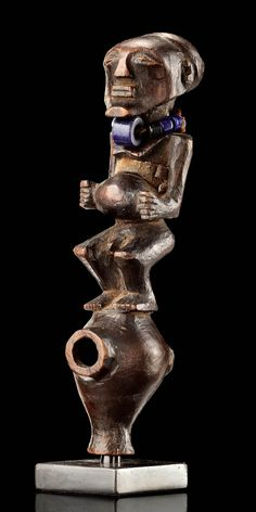 Africa | Pipe from the Songye people of DR Congo | Wood, glass beads