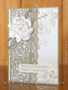 Rayleen and Irene's Hamilton Extravaganza project is an elegant wedding card using the Something Borrowed DSP, For the New Two stamp set and Petal Potpourri stamp sets from the Occasions Catalogue. www.creativestamping.co.nz | Stampin' Up! | Occasions Catalogue