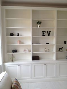Bookshelf - covered on bottom Bookshelves Built In, Bookcase Shelves, Shelving, Living Room Bookcase, Living Room Storage, Modern Victorian Homes, Paint Colors For Living Room, Home Office Decor, Home Decor