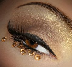 Gold Rhinestone Eyes