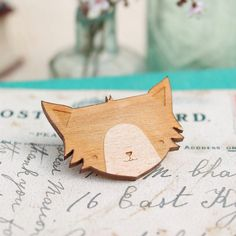 Laser Cut Wooden Cat Brooch by GingerPickle1 on Etsy