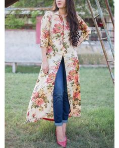 Buy The Secret Label Beige Cotton Floral Front Slit Kurti online in India at best price.Vintage floral printed maxi cape with a shirt collar neckline and front button placket. The sleeve cuff Pakistani Dresses, Indian Dresses, Front Slit Kurti, Stylish Dresses, Fashion Dresses, Kurti Designs Party Wear, Dress Designs, Blouse Designs, Kurta Designs Women