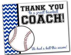 Team Thank You Card for Baseball Coach  INSTANT Download  by khudd, $4.00