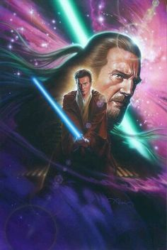 Qui-Gon Jinn: Was a revered, yet maverick and unconventional Human male Jedi Master. He was the Padawan to Count Dooku, and the mentor to Obi-Wan Kenobi and briefly Anakin Skywalker. Jinn often placed himself in conflict with the Jedi High Council. He was deeply attuned to the Living Force, which contributed to him frequently taking side trips to help seemingly weak and useless life-forms. He was regarded by many Jedi as sharp-witted and possessing great wisdom.