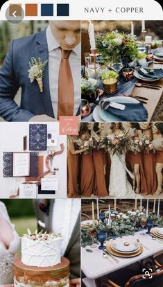 Wedding Color Combinations, Wedding Color Schemes, Color Themes For Wedding, Wedding Color Pallet, Copper Wedding Decor, Blue And Copper, Marie, Wedding Decorations, Wedding Ideas