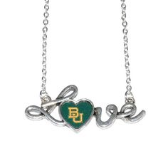 "Show Your Bears Pride! Baylor Bears 16"" Chain Necklace with Pendant with ""Love"" in Script & Baylor Logo in the Heart Sports Team Accessories http://www.amazon.com/dp/B01BFMH6Q2/ref=cm_sw_r_pi_dp_tVEXwb0X8FJ12"