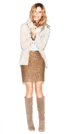 Sequin skirt + cozy sweater...love casual use of sequin skirt.
