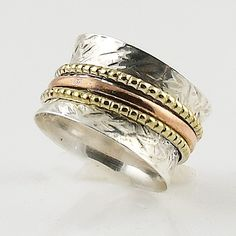 Spinner Ring - Three Tone Textured and Twisted- keja jewelry