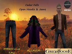 (WEAR ME) Cedar Falls Open Hoodie W/ Jeans  secondlife, sl, avatar secondlife fashion lifestyle