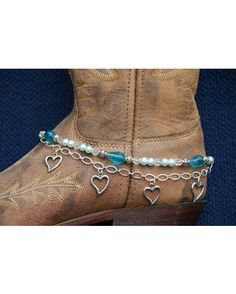 Boot Candy Sapphire Pearls and Hearts with Chain 608130 Boot Jewelry-Boot Bling-Boot Bracelet-Boot Accessories Boot Jewelry, Anklet Jewelry, Bling Jewelry, Jewelery, Anklets, Cowgirl Style, Cowgirl Boots, Bootie Boots, Shoe Boots
