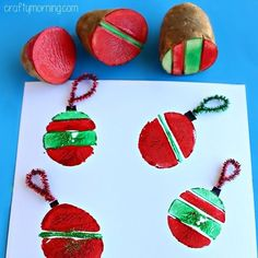 Potato Stamping Craft: Christmas Ornament Bulbs