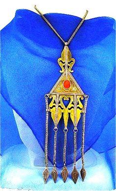 Turkoman Gilded Silver Teke Tribal Symbol Pendant Carnelian Gem   craftsofthepast - Jewelry on ArtFire