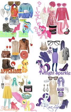 My Little Pony inspired outfits- I love apple jacks and rainbow dash's -Derpy Hooves102