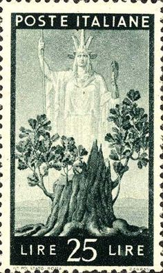 Italy Stamp - Emesso il 1 ottobre 1945 25 L. - Albero in fiore ed Italia