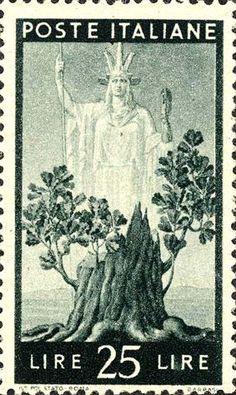 Emesso il 1 ottobre 1945 25 L. - Albero in fiore ed Italia