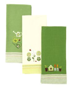 Take a look at this Green Garden Embroidered Dish Towel Set by Design Imports on #zulily today!