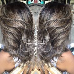 """""""What do guys think of Our lovely client Valerie's multidimensional dark smokey ash blonde??? Ladies if you're wanting to go any 'ash grey silver' tones…"""""""