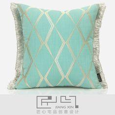 匠心宅品 现代地中海样板房软装抱枕薄荷绿绣花流苏方枕(不含芯