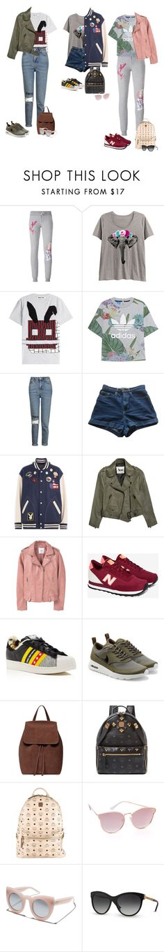"""""""Outfit"""" by audrey-balt ❤ liked on Polyvore featuring Philipp Plein, LC Trendz, McQ by Alexander McQueen, adidas Originals, Topshop, American Apparel, Marc Jacobs, Acne Studios, MANGO and New Balance"""