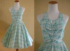 1960's Sweetheart Sundress  60's Plaid Dress by LittleGhostVintage
